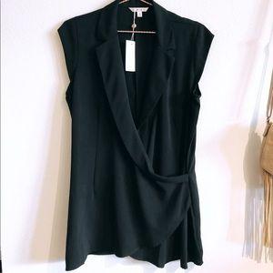 CAbi Origami Black Wrap Tunic    Size Medium